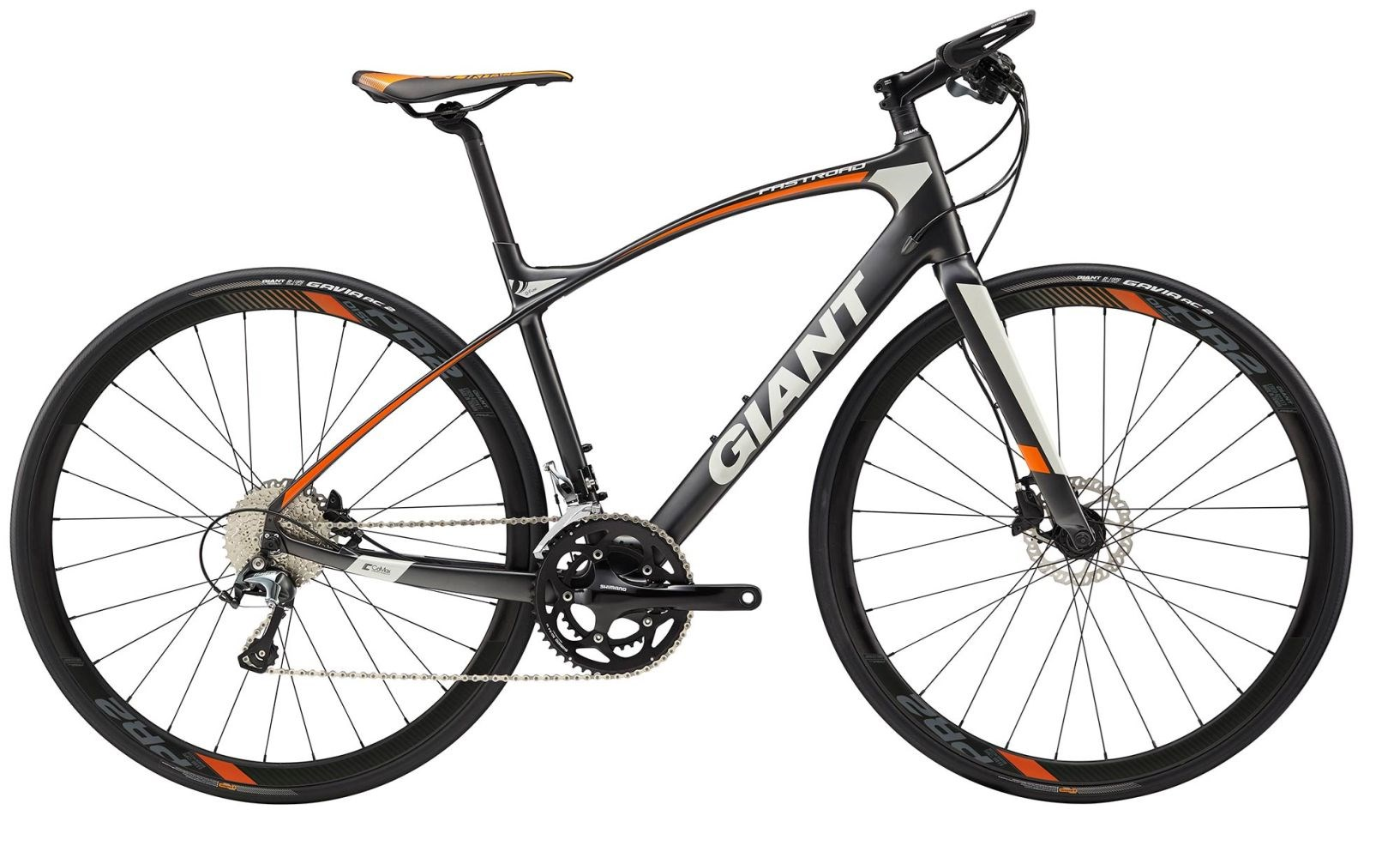 2018 GIANT FASTROAD COMAX CARBON FLAT BAR ROAD BIKE, CHARCOAL/ORA ...